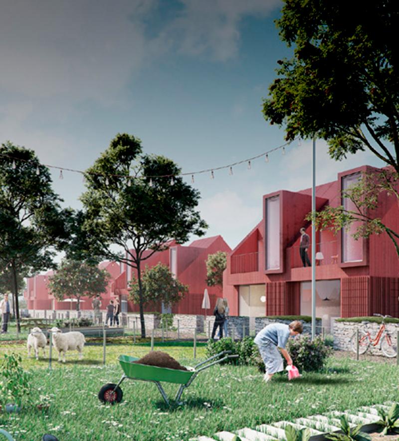 De bæredygtige valg skal være nemme i Hammersholt Enge. Koncept for fremtidens bæredygtige landsby.